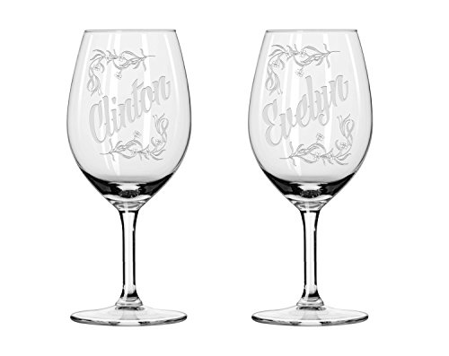 2x Weingläser, Custom Namen der Hochzeitspaar Weingläser, Maid of Honor Weinglas, personalisieren Weingläser, Hochzeit Geschenke, Classic Geschenk