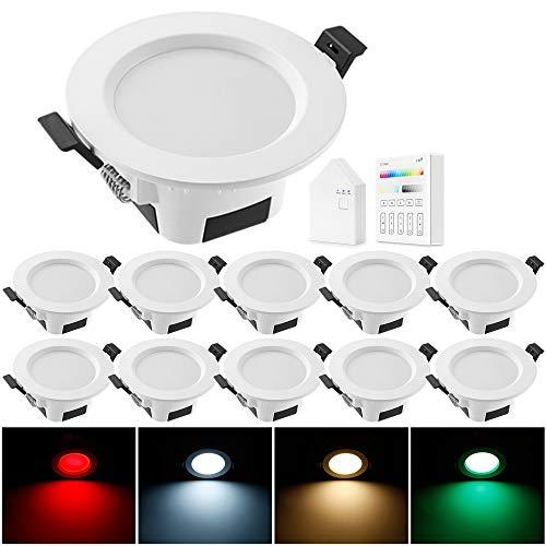 Geyueya - Lote de 10 focos LED empotrables de techo, planos redondos, 9 W, RGBCW CCT 2700 K-6500 K, regulable, cambio de color blanco cálido frío para cocina, salón, pasillo, galería – Lote de 10