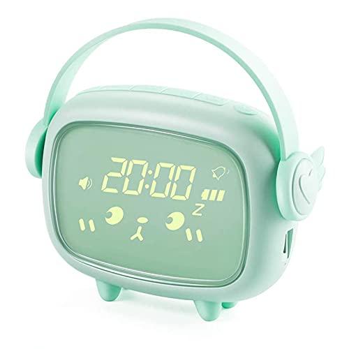 Kinderwecker, otutun Kinder Wecker Digitaler Lichtwecker Cute Nachtlicht LED Wecker mit Nachttischlampe Snooze-Funktion Zeitgesteuertes Nachtlicht Kindertagesgeschenk für Mädchen Jungen (Grün)