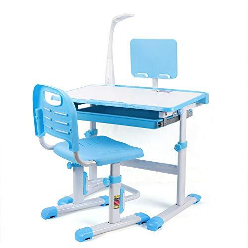Wangkangyi - Scrivania per bambini, regolabile in altezza, con lampada a LED, tavolo per bambini, con sedia ergonomica per bambini (blu)
