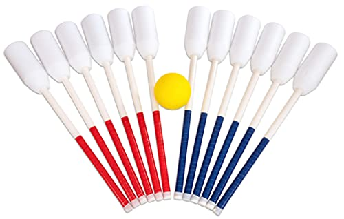 Ball-Bounce Set mit 6 Schlägern (je 3 x rot/blau) und 1 Ball - Hockey Ballsport Ballspiel Schulunterricht Sportunterricht Sport Kindergarten Bewegung Outdoor