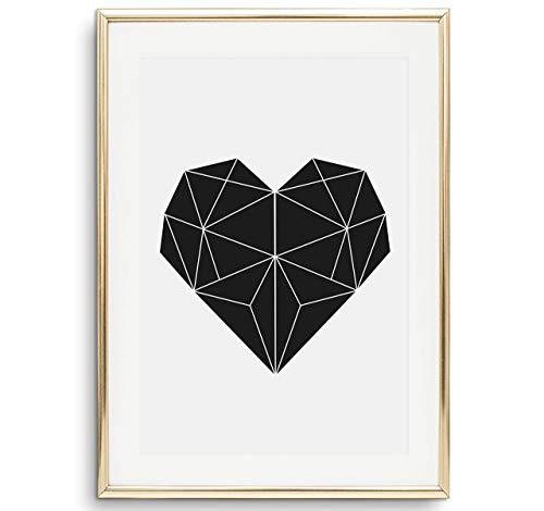 Tales by Jen Kunstdruck, Poster mit Illustration: Geometrisches Herz | Stilvolles Premium Poster auf hochwertigem Papier | Moderne Wohnzimmer Deko, schwarz weißes Wohnaccessoires | Ohne Bilderrahmen