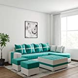 Lillyput Interio Leatherette 7 Seater Sofa (Standard Size, Cream and Orchid Green)