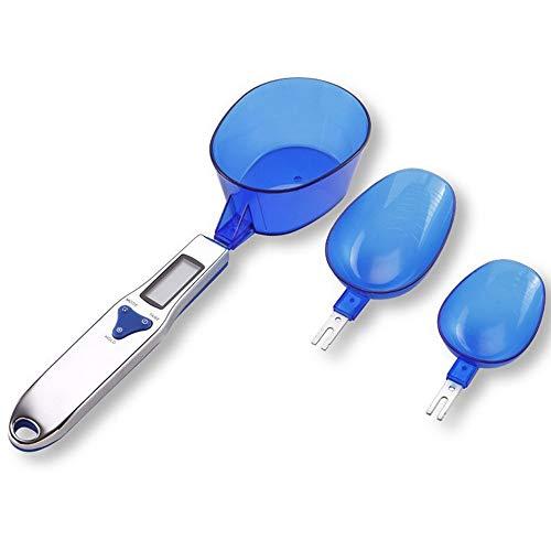 Heerda Balance de cuisine numérique, cuillère doseuse à graduation 0,1 g jusqu'à 500 g avec manche en acier Balance à cuillère 3 têtes remplaçables Cuillère doseuse