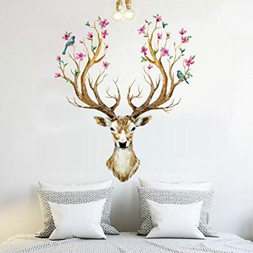erthome Removable Vinyl Wall Sticker Mural Decal Art Living Room Decors -3D Sika Deer (Flower Deer)
