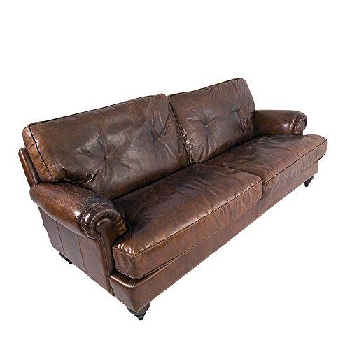Lounge sofá pembury de 3plazas Piel Vintage Cigar sofá Club sofá Piel sofá Piel