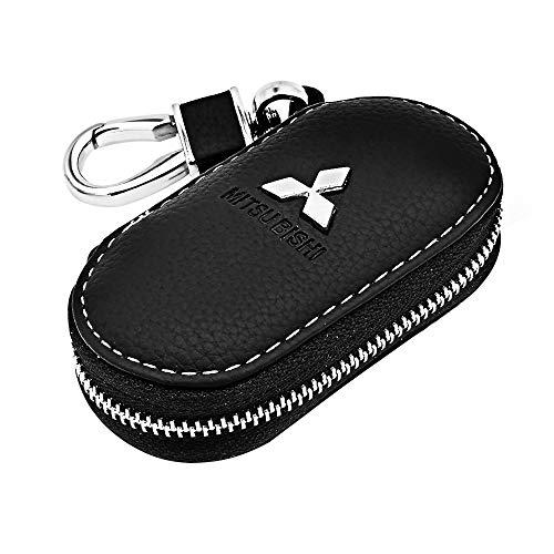 VILLSION Echtes Leder Schlüsselanhänger Schlüsseltasche Auto Schlüsselmäppchen Schlüssel Anhänger mit Edelstahlhaken Metall Reißverschluss, Schwarz