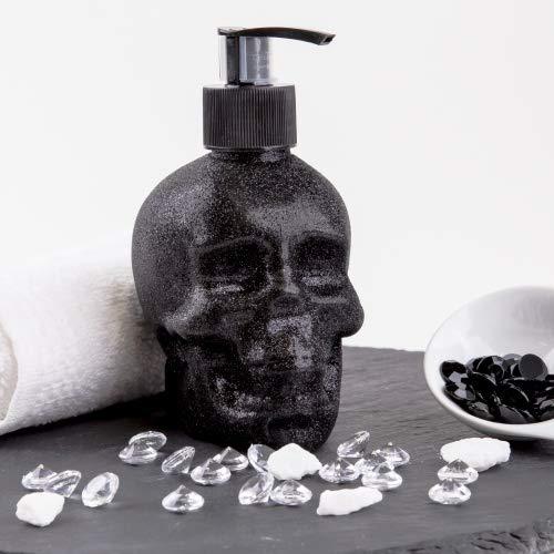Accentra Seifenspender Totenkopf mit Flüssigseife - Schädel/Skull - Totenkopf Deko für das Badezimmer -schwarzer Chrome-Look Pumpspender (Glitter)