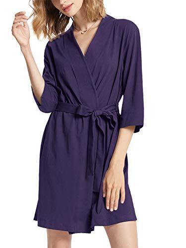 SIORO Kimono de algodón para mujer, batas ligeras de punto corto, bata de baño suave para casa, ropa de dormir para mujer XS-3XL, Berenjena, XXL