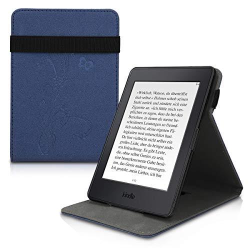 kwmobile Funda Compatible con Amazon Kindle Paperwhite - Carcasa para e-Book de Cuero sintético - Flores y Mariposas Azul Oscuro (para Modelos hasta el 2017)