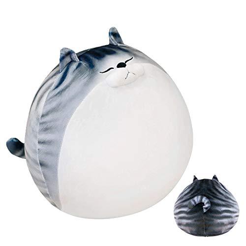 RAINBEAN Pluszowa poduszka z uroczym grubym kotem, wypchane zwierzę w paski kawaii duża zabawka, miękka lalka kotek prezent dla dziecka i przyjaciela, 40 cm