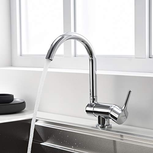 AiHom Küchenarmatur Schwenkbar Wasserhahn Chrom Vorfenster Armatur 360° drehbar Einhandmischer faltbarer Messing Fensterhahn Küchenspüle Mischbatterie , Küche
