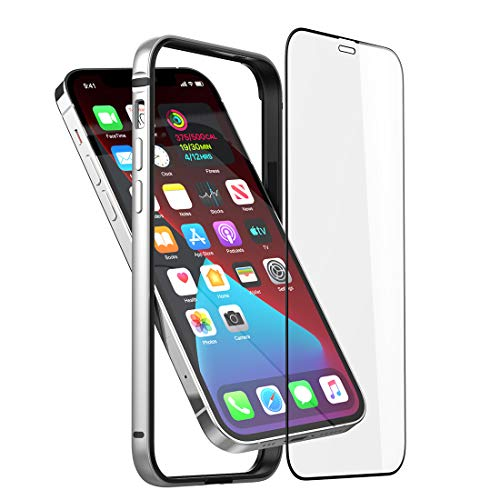 Slim Thin Phone Case Compatible with iPhone 12 Pro Max, Metal Bumper Cover with Soft TPU Inner [No Signal Interference][Support Wireless Charging] Compatible for iPhone 12 Pro Max, Silver