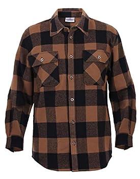 Rothco Extra Heavyweight Buffalo Plaid Flannel Shirt Brown Plaid L