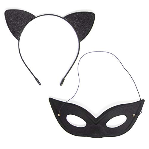 Cheerin Cat Ear Headband with Cat Mask | Glitter Kitty Cat Ears Headband with Black Mask | Halloween Cat Costume accessory for Kids and Adults | Cat themed Party, Christmas, Cosplay Party Costume
