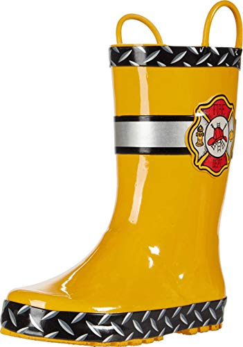TRIPLE DEER Kids Light Up Rain Boots, Waterproof Lightweight Boots with Lights for Toddlers & Little Kids Age 1-9, with Easy-on Handles (Little Kid 11M, Yellow)