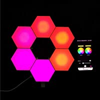 スマートライトパネル APPコントロールヘキサゴンライト スマートウォールマウント DIY幾何学的モジュラーLEDライト 音楽と同期する 家と子供の日の装飾用-6パック