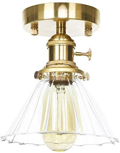 Nordic Slope Streep Glas Plafond Lamp E27 LED Woonkamer Veranda Thuis Verlichting Vintage Koper Plafondlamp Lampara Techo (Kleur : Amber)