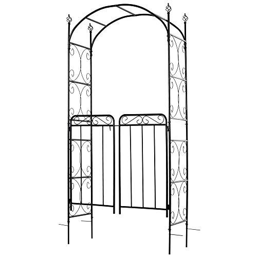Outsunny Arco de Jardín con Doble Puerta Enrejado de Metal 108x45x215 cm con Cerradura para Plantas Trepaderas Enredaderas Exterior Patio Césped Boda Color Negro Mate