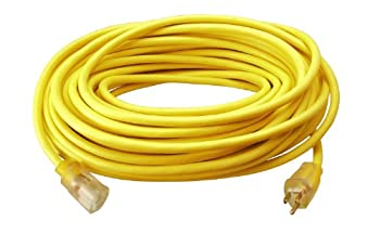 Southwire 25890002 2589SW0002 Outdoor Cord-12/3 SJTW Heavy Duty 3 Prong Extension Cord Water Resistant Vinyl Jacket for Commercial Use and Major Appliances Foot Yellow 100 Feet Ft