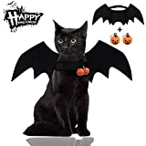 Malier Halloween Cat Costume for Cats Dogs Pet Bat Wings Cat Dog Bat Costume Wings (Bat Wings with Pumpkin Bells)