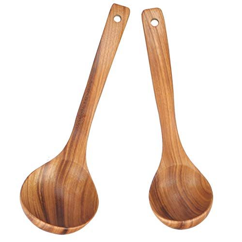 Set of 2 Long Handled Spoon Wooden Soup Ladle Spoon Large Cooking Ladle Big Wood Kitchen Spoon Serving Water Ladle Set