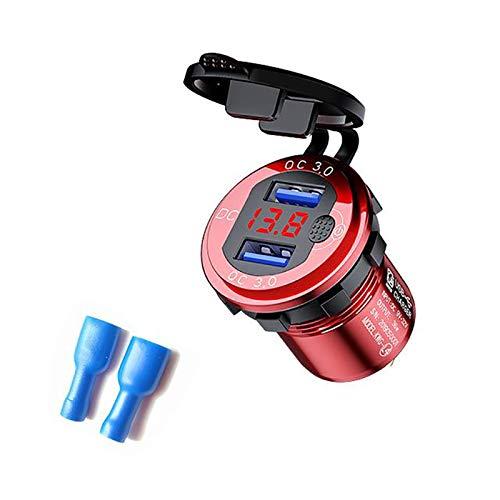 Semoic Carga Rapida Cargador de Coche con Doble USB 3.0 con VoltíMetro e Interruptor, Cargador de Salida de 36 W y 12 V para Coche Barco CamióN Marino ATV, Rojo