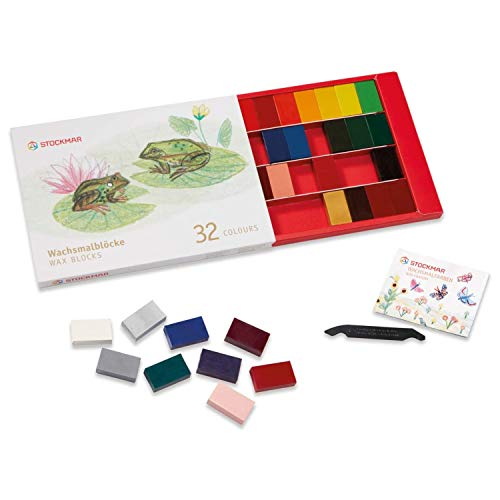 Stockmar Beeswax Block Crayon Set - Break-Proof & Non Toxic Crayons for Kids & Artists (32 pcs)