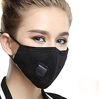 Dust Mask with 2 Filters Washable and Adjustable PM2.5 Mouth Cover Mask( Black Mask)