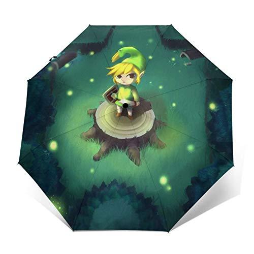 Zelda paraguas portátil de tres pliegues paraguas de viaje impermeable anti-UV resistente al viento durable paraguas automático para unisex