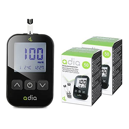 Juego de glucómetro adia que incluye 110 tiras reactivas de glucosa en sangre, dispositivo de punción, 10 lancetas, diario y bolsa