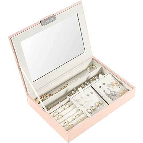 Allinside Caja Joyero Caja de Joyas con Tapa de Espejo, Vitrina Organizador de Joyas Apilable, Joyero de Cuero Sintético para Niñas Mujeres, Rosa