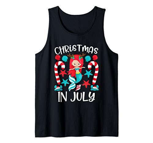Christmas In July Cute Mermaid Summer Tank Top