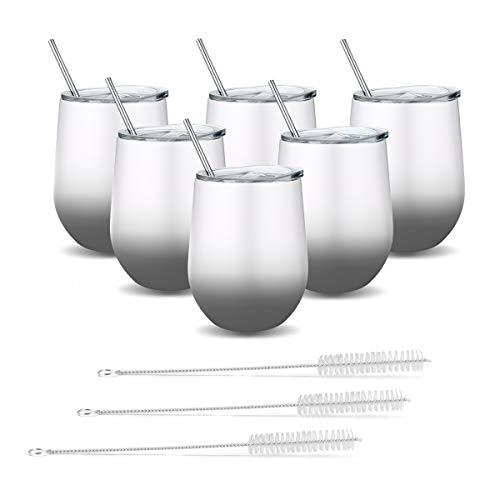 Fungun - Vaso de vino sin tallo de acero inoxidable con pajitas, doble pared, aislado al vacío, con tapas deslizantes para café, vino, cócteles, helado (blanco y gris)