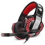 Microlindun Gaming Headset Micrófono PC Auriculares Gamer con micrófono 3.5mm Bass Stereo Control de volumen LED para PC, Laptop, Tablet y Smartphone, PS4 (adaptador de divisor)