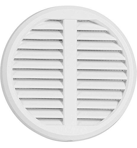 Lüftungsgitter Kunststoff verstellbar für Rohre von 75-125mm Deckmaß140mm mit Insektenschutz