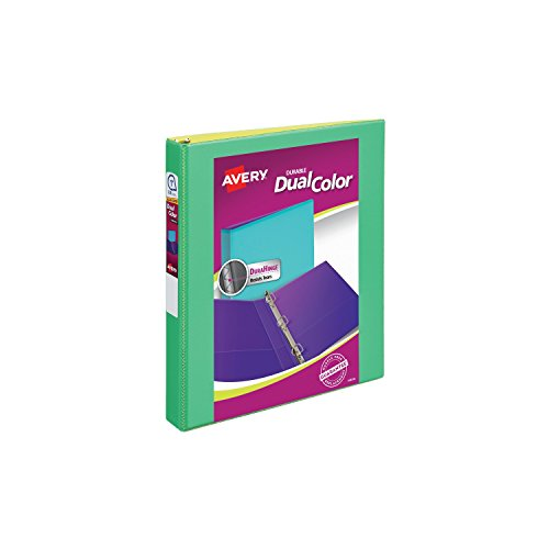Avery Dual Color Durable View Binder, 1 Slant Rings, 250-Sheet Capacity, Green/Yellow (17217)