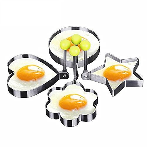 YUTRD ZCJUX 5 Estilos Acero Inoxidable Huevos Frífales Molde Huevos Bolsos Moldes Freír Moldes Tortillas Shaper Huevo Panqueque Herramientas De Cocina Suministros De Cocina