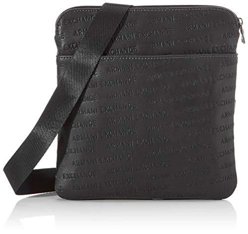 Armani Exchange - Small Crossbody Bag, Bolso bandolera Hombre, Negro (Nero Black), 22.5x1.5x22 cm (B x H T)