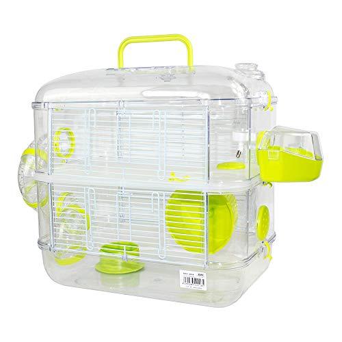 Jaulas para Hamster de plástico Duro, Jaula de Hamster L 2 Pisos Hamster caseta Bebedero comedero Rueda Todo Incluido 40 * 26 * 40cm(2 Piso, Verde)
