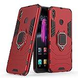 LuluMain Compatible con Honor 8X Funda, Anillo Metálico Sujeción Soporte Antichoque Rígido Caja (Funciona con el Montaje de Coche Magnético) Doble Capa Sólido Case Carcasa para Huawei Honor 8X (Rojo)
