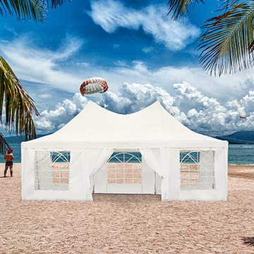 Diophros 22' x 16' Outdoor Party Canopy Gazebo Tent, Octagonal Wedding Tent Shelter with 8 Removable Side Walls, White