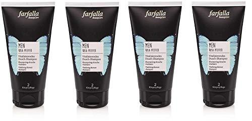 Farfalla MEN, Rosa Pfeffer Vitalisierendes Dusch-Shampoo 2in1, für Haut und Haar, vegan, 4 x 150ml,
