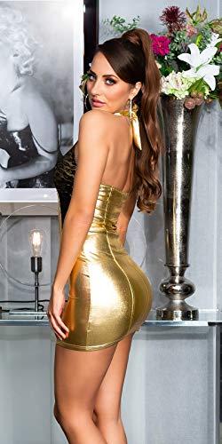Koucla - Vestido de fiesta para mujer, aspecto mojado, con encaje, dorado, S