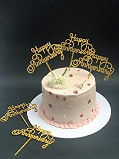 Bake Planet - Golden HAPPY ANNIVERSARY Cake Topper for Cake Decoration/Happy Anniversary Cake Decoration Item - Pack of 5