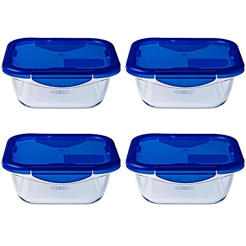 Pyrex Easy Wash Cook & Go Square Container with Lid Large 0.8 Litre Blue (Pack of 4)