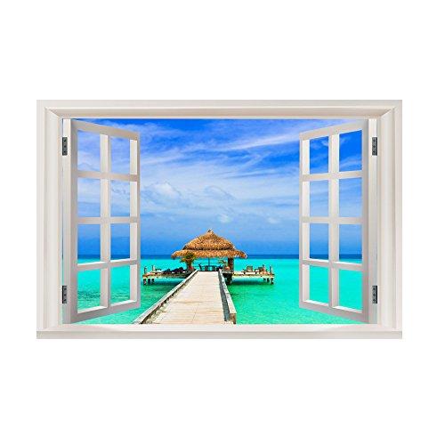 BakeLIN Wandaufkleber Wandtattoo, Emulation Landschaft 3D Wandsticker Wohnzimmer Schlafzimmer Kinderzimmer Haus Dekoration (38 x 58 cm) (38 x 58 cm, I)