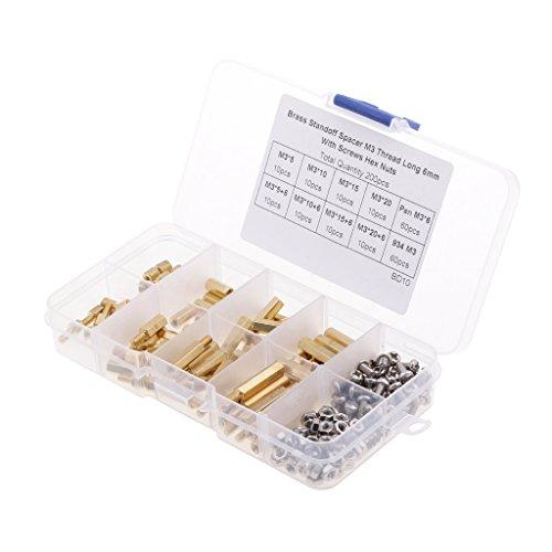 Shiwaki 200 Stücke M3 Männlich Weiblich Messing Spacer Abstandsschraube Mutter Assorted Kit Box
