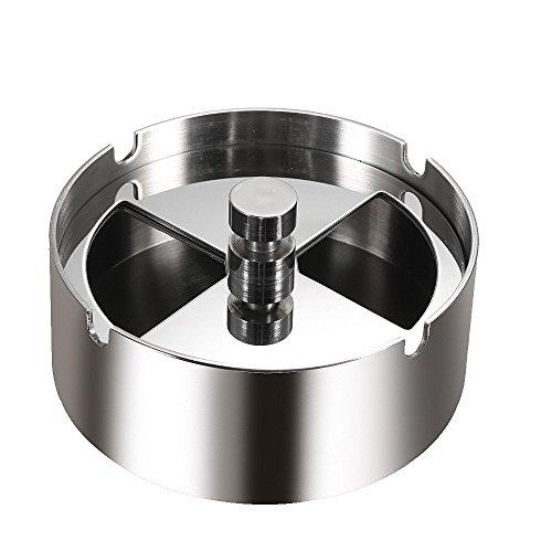 Anself Cendrier tournant rond en acier inoxydable de haute qualité avec plateau tournant coupe-vent ash-tray pour hôtel