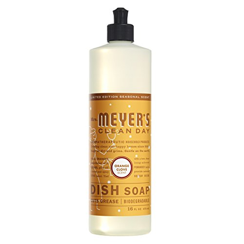 Mrs. Meyer's Clean Day Dishwashing Liquid Dish Soap, Cruelty Free Formula, Orange Clove Scent, 16 oz Bottle